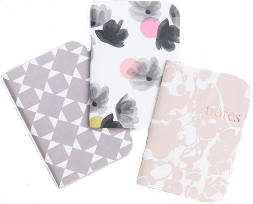 Caroline Gardner Rose Tinted Pocket Notebooks Set of 3