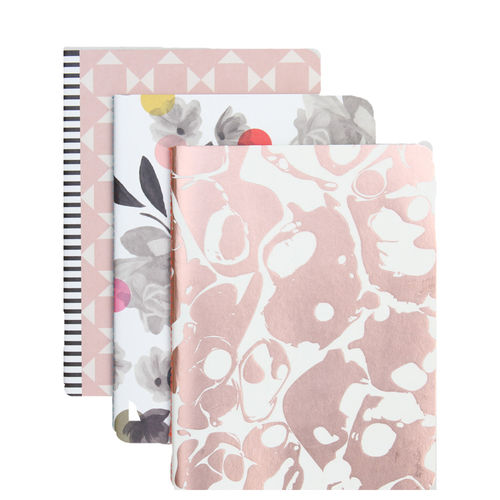 Caroline Gardner Rose Tinted Metallic Exercise Books Set of 3